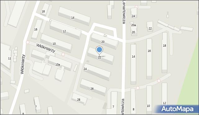 Andrychów, Włókniarzy, 22, mapa Andrychów