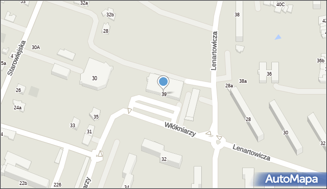 Andrychów, Włókniarzy, 39, mapa Andrychów