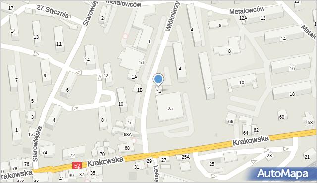 Andrychów, Włókniarzy, 4a, mapa Andrychów