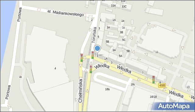 Grudziądz, Włodka Józefa, 1, mapa Grudziądza