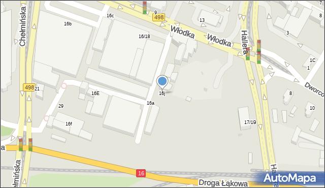 Grudziądz, Włodka Józefa, 16j, mapa Grudziądza
