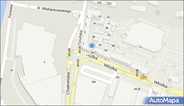 Grudziądz, Włodka Józefa, 1A, mapa Grudziądza