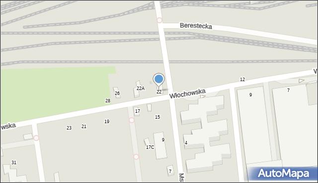 Warszawa, Włochowska, 22, mapa Warszawy