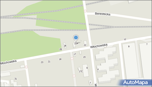 Warszawa, Włochowska, 22A, mapa Warszawy