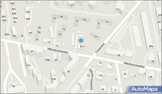 Warszawa, Włodarzewska, 70, mapa Warszawy