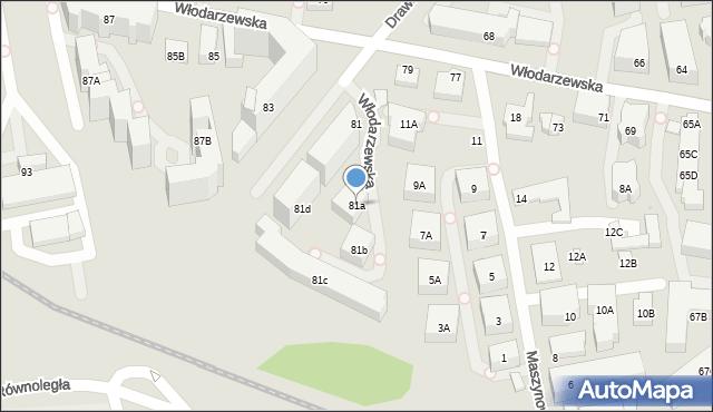Warszawa, Włodarzewska, 81a, mapa Warszawy