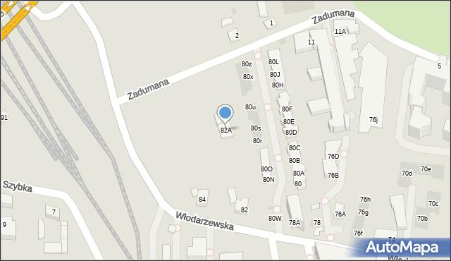 Warszawa, Włodarzewska, 82A, mapa Warszawy