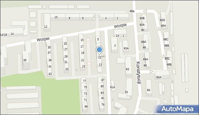 Bytom, Worpie, 11, mapa Bytomia