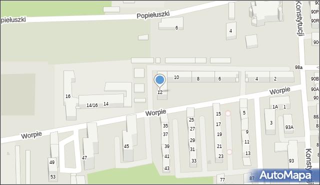Bytom, Worpie, 12, mapa Bytomia