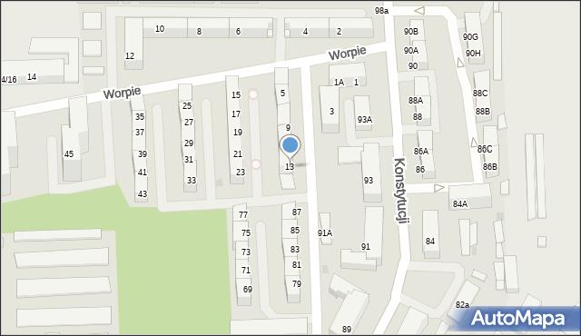 Bytom, Worpie, 13, mapa Bytomia