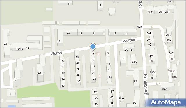 Bytom, Worpie, 15, mapa Bytomia