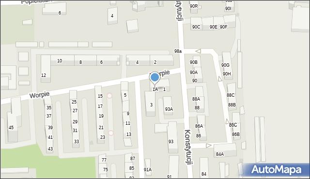 Bytom, Worpie, 1A, mapa Bytomia