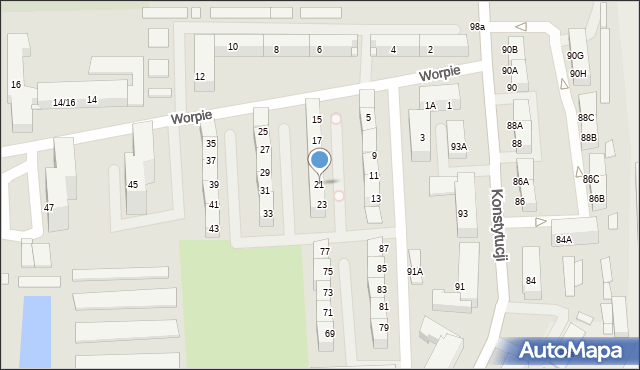 Bytom, Worpie, 21, mapa Bytomia