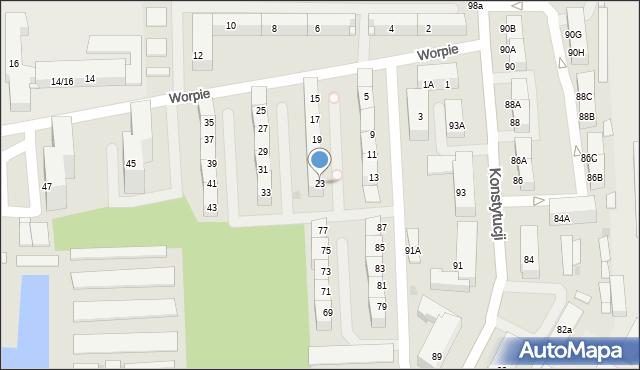 Bytom, Worpie, 23, mapa Bytomia