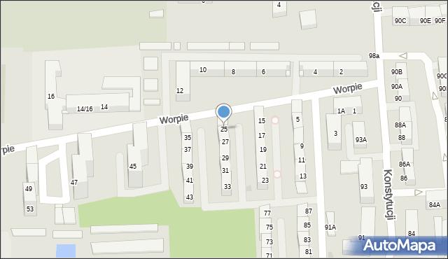 Bytom, Worpie, 25, mapa Bytomia