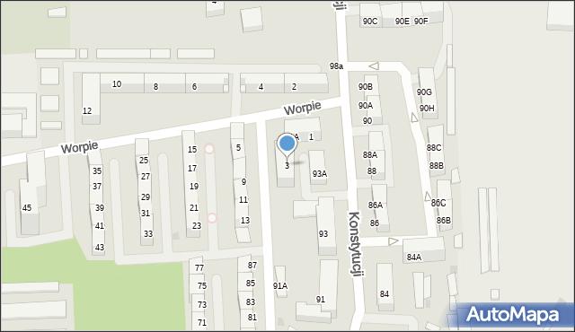 Bytom, Worpie, 3, mapa Bytomia