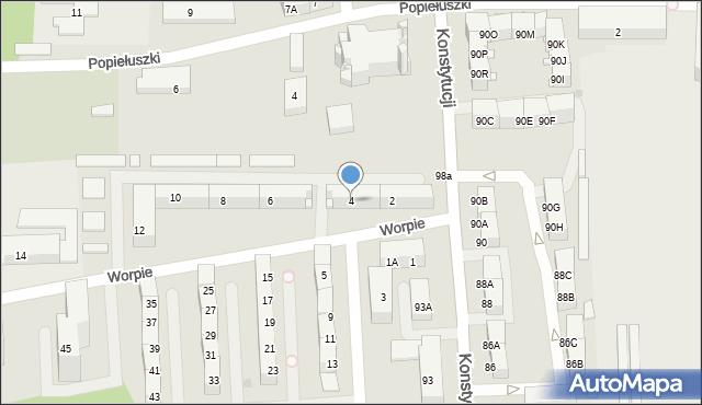 Bytom, Worpie, 4, mapa Bytomia