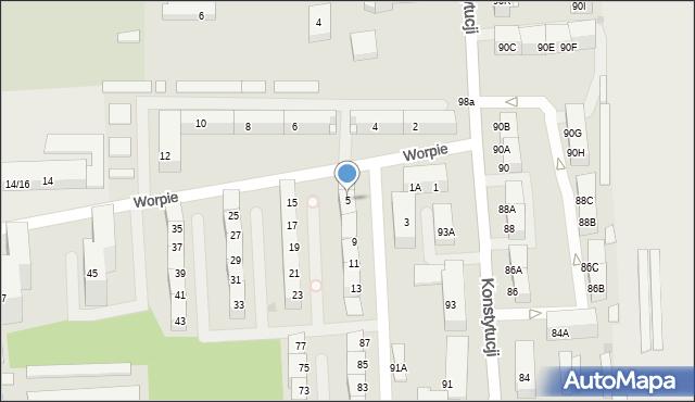 Bytom, Worpie, 5, mapa Bytomia