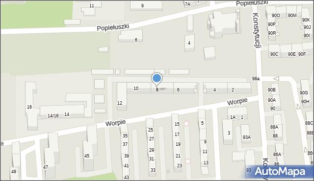 Bytom, Worpie, 8, mapa Bytomia