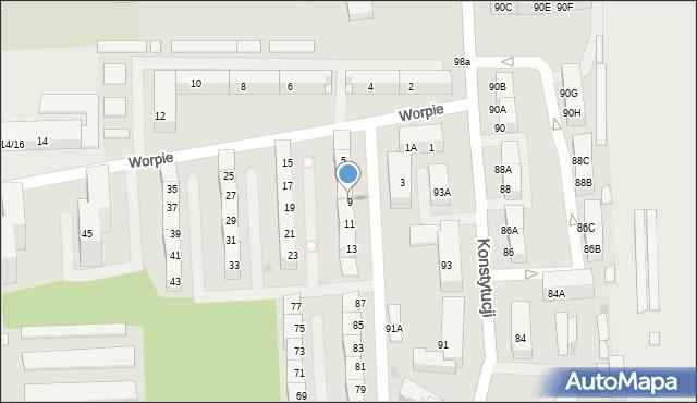 Bytom, Worpie, 9, mapa Bytomia