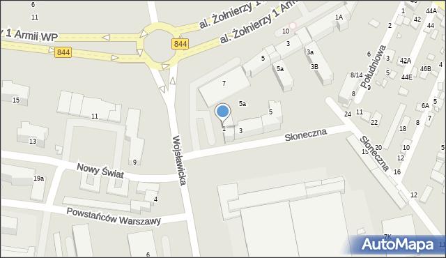 Chełm, Wojsławicka, 1, mapa Chełma