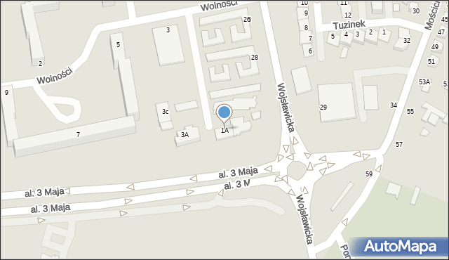 Chełm, Wolności, 1A, mapa Chełma