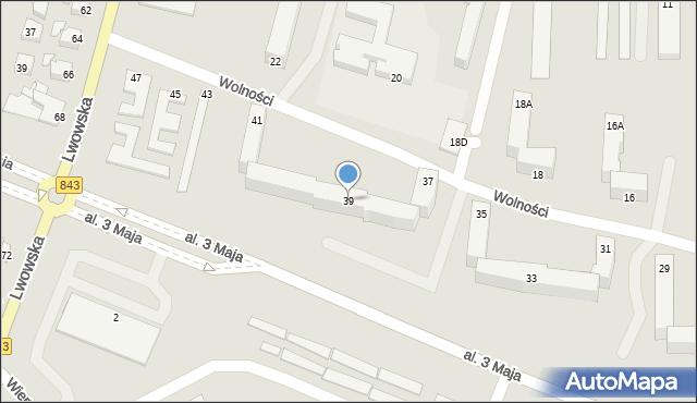 Chełm, Wolności, 39, mapa Chełma