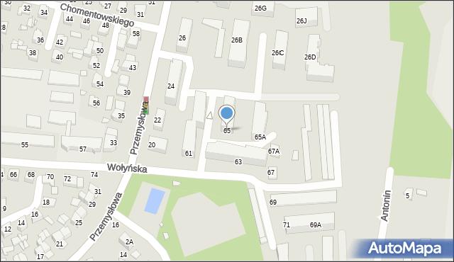 Chełm, Wołyńska, 65, mapa Chełma