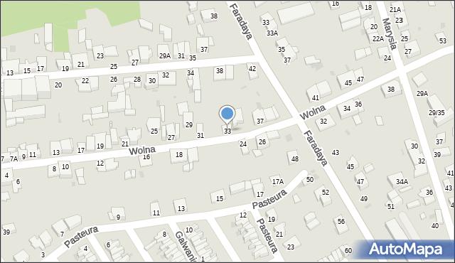 Częstochowa, Wolna, 33, mapa Częstochowy