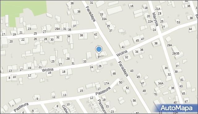 Częstochowa, Wolna, 37, mapa Częstochowy