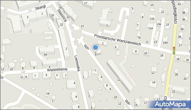 Krosno, Wojska Polskiego, 1, mapa Krosna