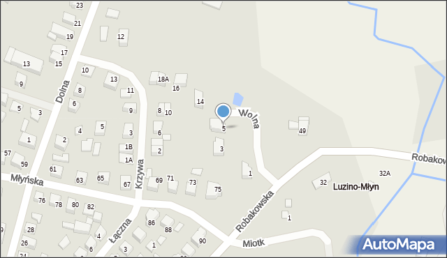 Luzino, Wolna, 5, mapa Luzino