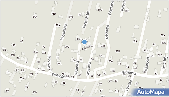 Poręba, Wolności, 62B, mapa Poręba