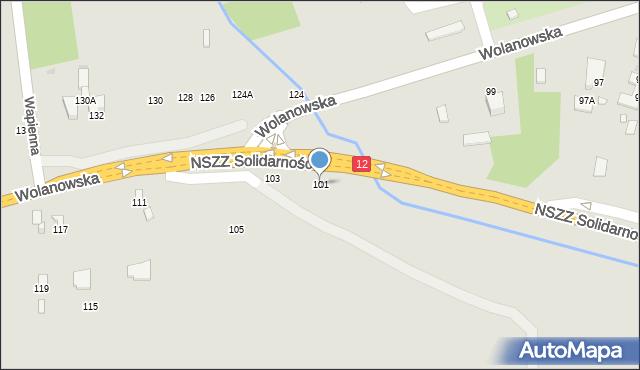 Radom, Wolanowska, 101, mapa Radomia