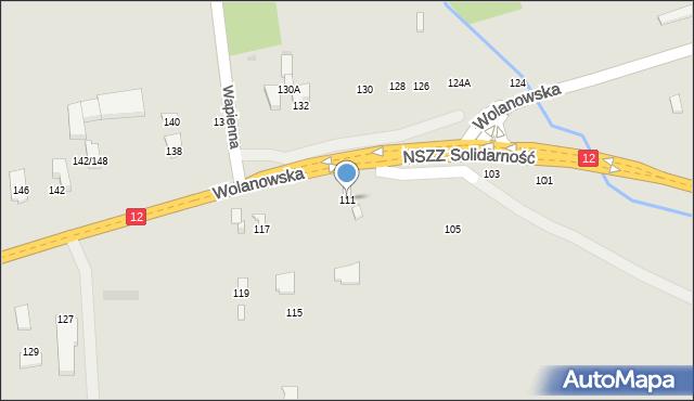 Radom, Wolanowska, 111, mapa Radomia