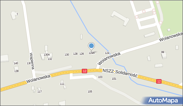 Radom, Wolanowska, 124A, mapa Radomia