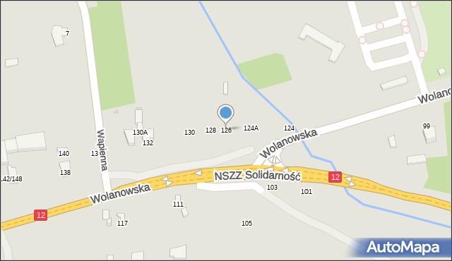 Radom, Wolanowska, 126, mapa Radomia