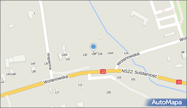 Radom, Wolanowska, 128, mapa Radomia