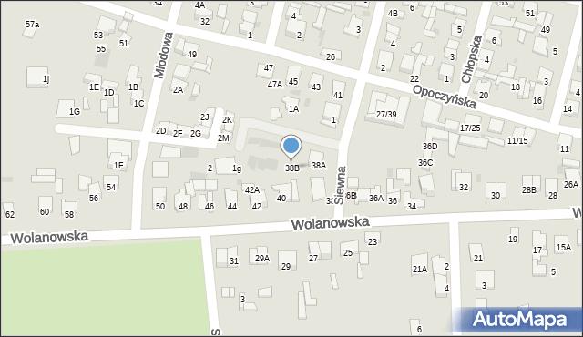 Radom, Wolanowska, 38B, mapa Radomia