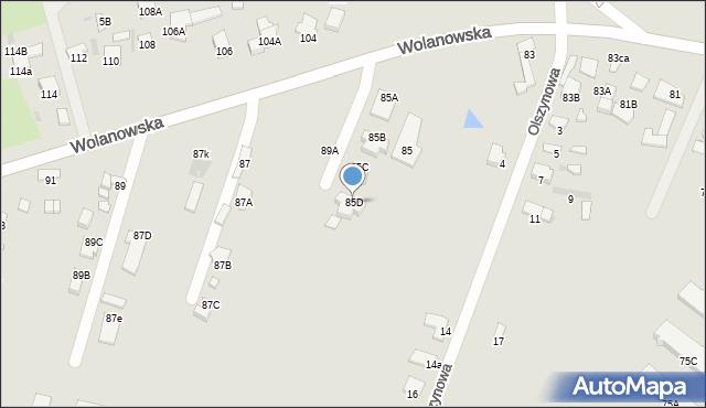Radom, Wolanowska, 85D, mapa Radomia