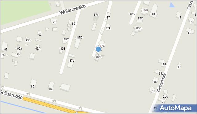 Radom, Wolanowska, 87C, mapa Radomia