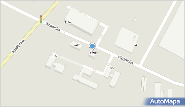 Radom, Wośnicka, 125B, mapa Radomia