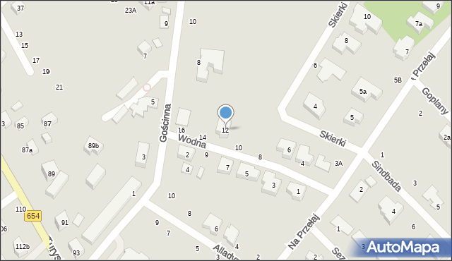 Toruń, Wodna, 12, mapa Torunia
