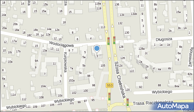 Toruń, Wodociągowa, 3, mapa Torunia