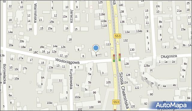 Toruń, Wodociągowa, 4, mapa Torunia