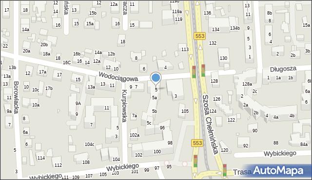 Toruń, Wodociągowa, 5, mapa Torunia