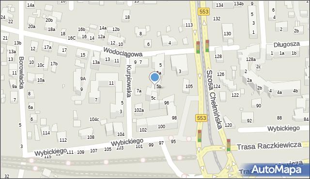Toruń, Wodociągowa, 5c, mapa Torunia