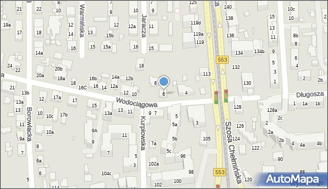 Toruń, Wodociągowa, 6, mapa Torunia