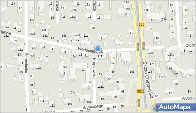 Toruń, Wodociągowa, 9, mapa Torunia