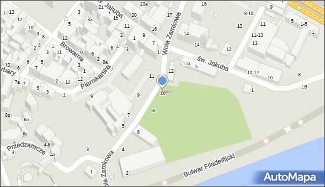 Toruń, Wola Zamkowa, 10, mapa Torunia
